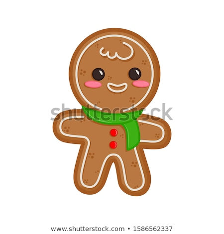 Gingerbread man decorado glacê isolado branco Foto stock © Lady-Luck