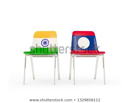 Dwa krzesła flagi Indie Laos odizolowany Zdjęcia stock © MikhailMishchenko