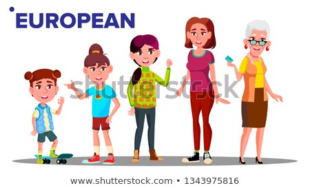 European Generation Female Set People Person Vector. Mother, Daughter, Granddaughter, Baby. Isolated Stock photo © pikepicture