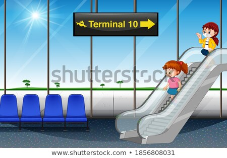 Kid Girl Airport Departure Escalator Illustration Stock photo © lenm