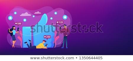 közösségi · média · függőség · szalag · nő · okostelefon · ül - stock fotó © rastudio