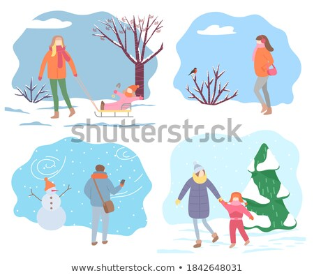 Walking Mother with Child in Wintertime Vector Stock photo © robuart