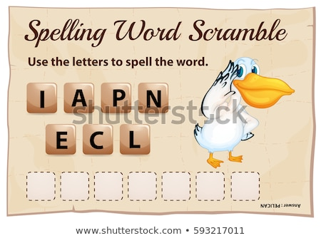Spelling word scrable game with word pelican Stock photo © colematt