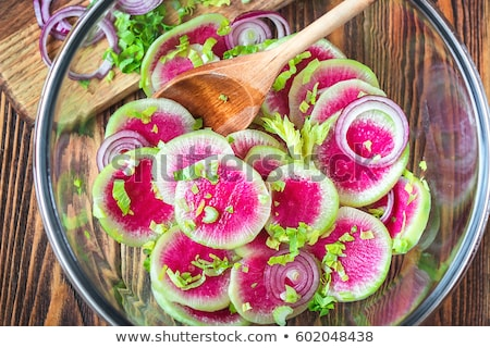 Fresh Watermelon Radish salad. Vegan, vegetarian, clean eating, dieting, food concept. Stock fotó © Illia