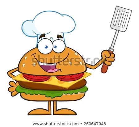 Chef hamburger spatule isolé Photo stock © hittoon