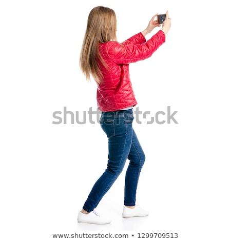 Nő elvesz fotó hátulnézet blogger okostelefon Stock fotó © grafvision
