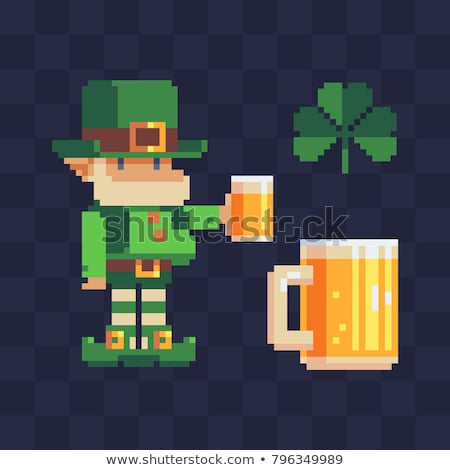 St Patricks Day Leprechaun Hat Pixel Art Icon Stock photo © Krisdog