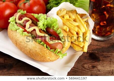 Frites françaises plateau Cola planche hot dog Photo stock © dla4