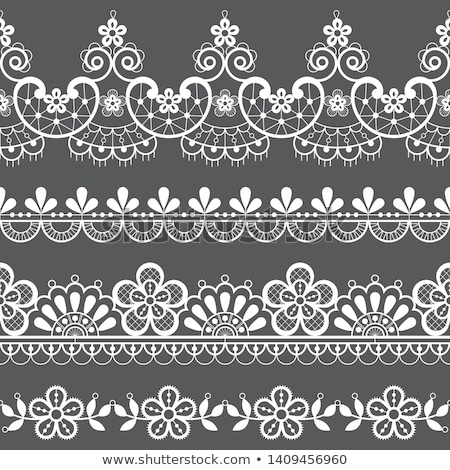 seamless retro floral wedding lace vector pattern   design with flowers and swirls detailed ornamen stock photo © redkoala