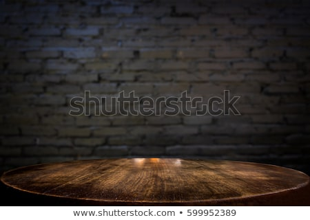 Kiválasztott fókusz üres fekete fa asztal fal Stock fotó © Freedomz