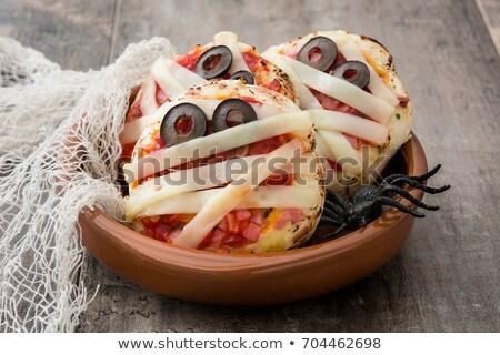 Halloween ijesztő mini pizza díszített ahogy Stock fotó © furmanphoto