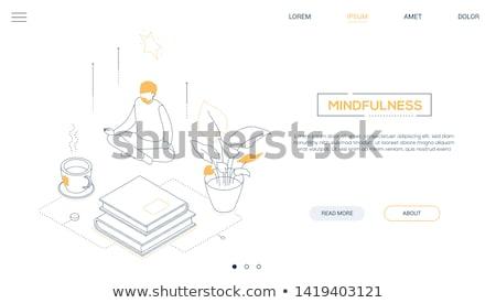 meditation   line design style isometric web banner stock photo © decorwithme