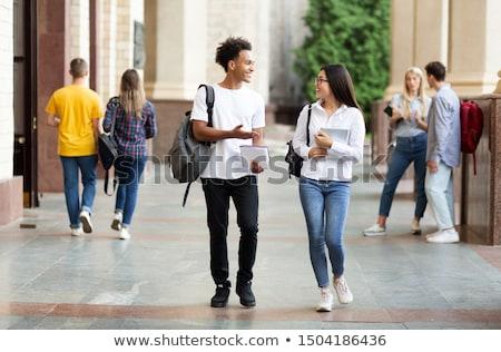 bastante · femenino · estudiante · ordenador · portátil · Universidad · campus - foto stock © lopolo