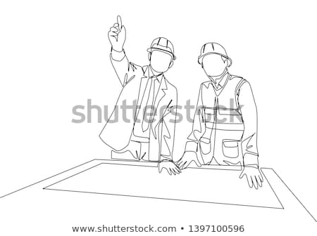 Architect and Construction worker on site giving the finger Stock photo © Kzenon
