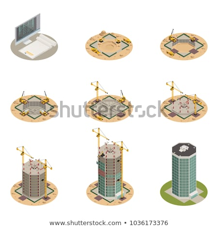 Vector isometric concrete building construction Stock photo © tele52