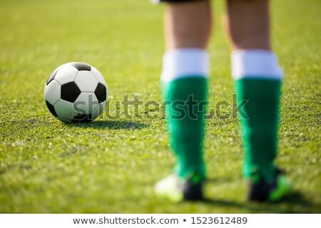 Egy futball futballista áll labda kész Stock fotó © matimix