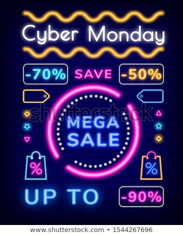 Vásár neonreklám felfelé 50 százalék el Stock fotó © Voysla