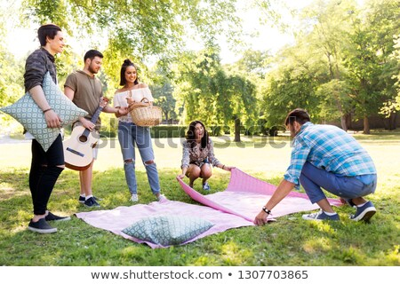 friends arranging place for picnic at summer park Stock photo © dolgachov