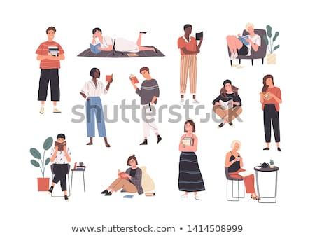 aantrekkelijk · meisje · lezing · boek · sofa · home · jonge - stockfoto © petrmalyshev