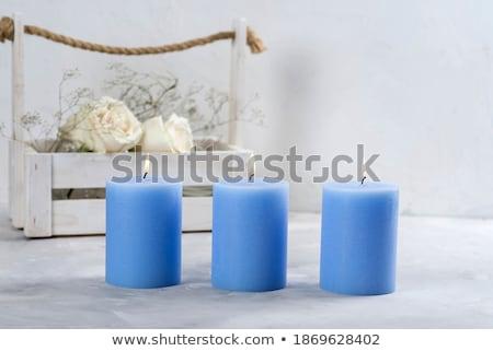 Foto stock: Azul · aromático · vela · Navidad · nuevos · año