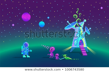 Solar System Planets 8 Bit Video Game Pixel Art Stock photo © Krisdog