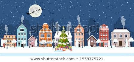 Christmas oude City Night sneeuwvlokken scène huizen Stockfoto © liolle
