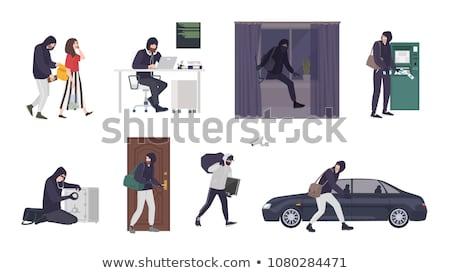 Ladro scassinatore rapinatore penale cartoon scena Foto d'archivio © Krisdog