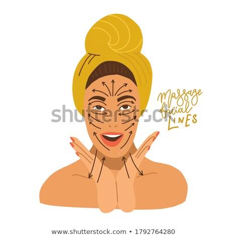 девушки лоб иллюстрация пальцы женщину Сток-фото © lenm