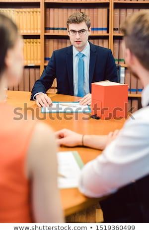 Notaris paar huwelijk vrouw kantoor boek Stockfoto © Kzenon