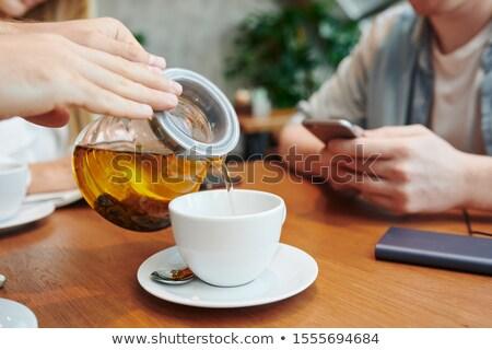Handen vent theepot kruidenthee witte Stockfoto © pressmaster