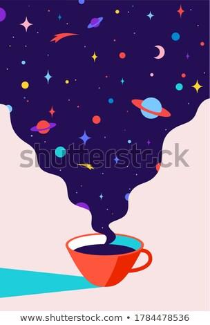 Xícara de café universo sonhos moderno ilustração bandeira Foto stock © FoxysGraphic