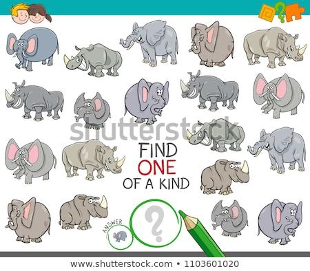 one of a kind game for kids with cartoon animals Stock photo © izakowski