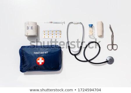 Background with medicine and pharmacy items. Stock photo © Margolana