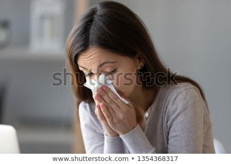 Boldogtalan beteg nő torokfájás otthon hideg Stock fotó © dolgachov