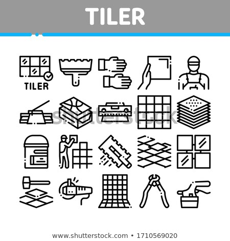 Tiler Work Equipment Collection Icons Set Vector Stock photo © pikepicture