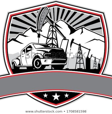 Pick-up Truck and Oil Derrick Shield Badge Retro Stock photo © patrimonio