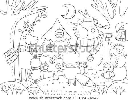 Coloring book or page, illustration. Christmas tree with decorations and gifts Stock photo © natali_brill