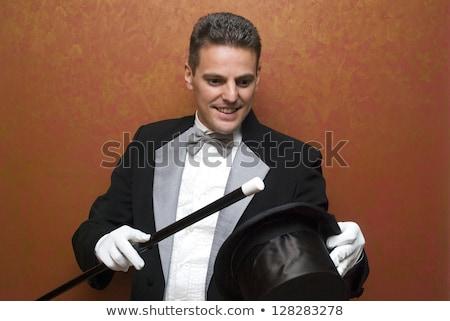 öreg bűvész mutat bűvésztrükk szuvenír felirat Stock fotó © ra2studio