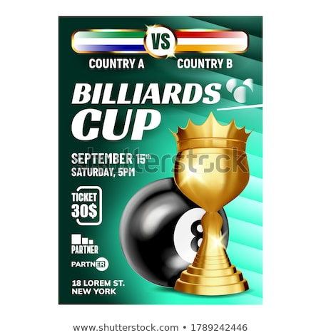 Billiard Pyramid Champion Cup Flyer Banner Vector Stock photo © pikepicture