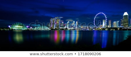 Singapour nuit Skyline marina eau ville Photo stock © joyr