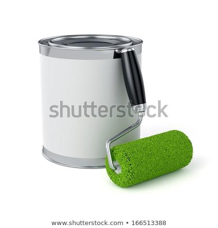 3D · 塗料 · 緑 · 色 · 地上 · 白 - ストックフォト © dariusl