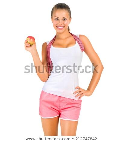 Stockfoto: Vrouw · maat · tape · rond · borst · geïsoleerd