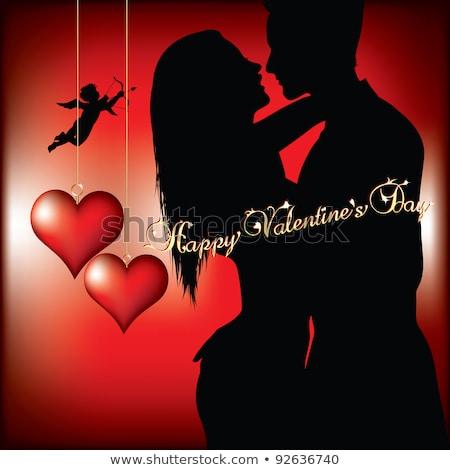 Mutlu sevgililer günü sanat klibi vektör görüntü afiş Stok fotoğraf © damonshuck
