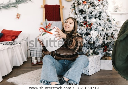 lány · mikulás · kalap · ül · tart · ajándék · doboz - stock fotó © hasloo