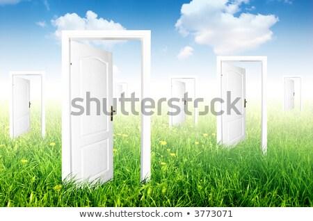 uşă · nou · lume · vedea · diferit · cer - imagine de stoc © photocreo