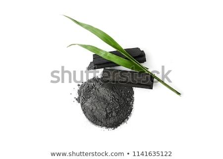 Carvão vegetal preto branco objeto combustível isolado Foto stock © Stocksnapper