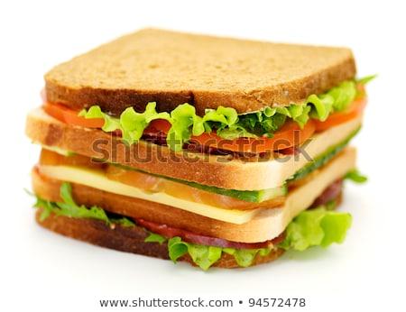 Lanches clássico blt sanduíche de três andares isolado branco Foto stock © zhekos