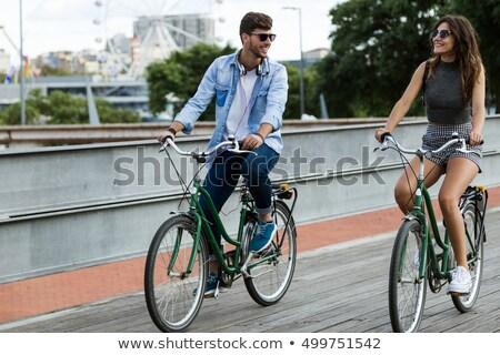 Iki şehir Motosiklet sokak Amsterdam Hollanda Stok fotoğraf © rglinsky77