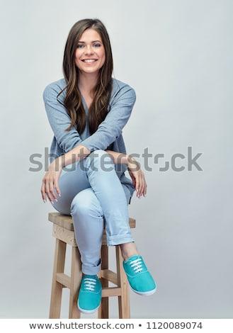 csinos · fiatal · lány · ül · szék · fekete · szexi - stock fotó © Rebirth3d