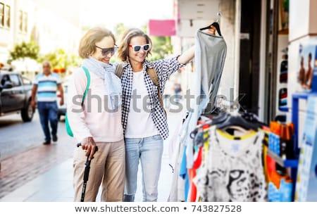 Stockfoto: Twee · senior · vrouwen · winkelen · markt · vrouw